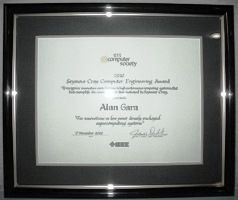 Award Plaque for Alan Gara