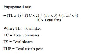 researchers' engagement rate formula for Facebook