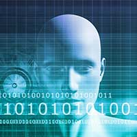Graphic illustration of man's head with binary in front of him