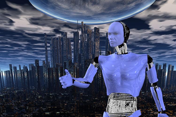 robot in big city