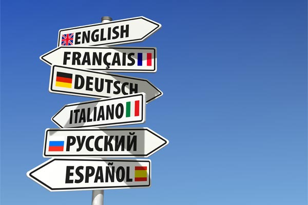 Sign posts in varying languages