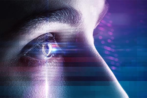 close up of eyes looking at screen
