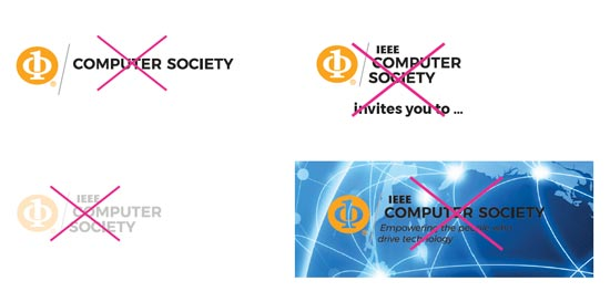 Examples of incorrect IEEE Computer Society logo usage.