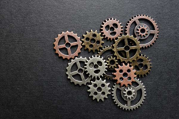 connected and overlapping gears