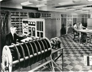 Edwin Harder at the Anacom, a general purpose electric analog computer, 1948