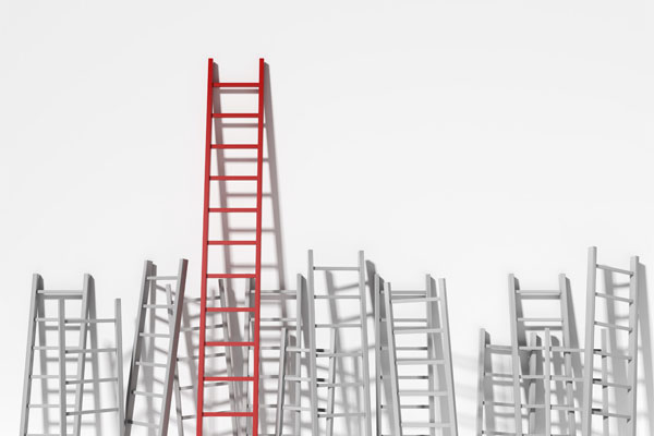 red ladder rising above white ladders