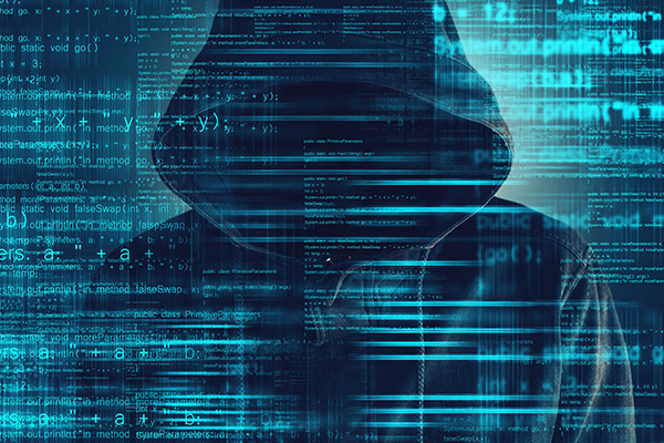 graphic hood man with security code lines in the background