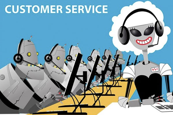 Robots with headpones in call center