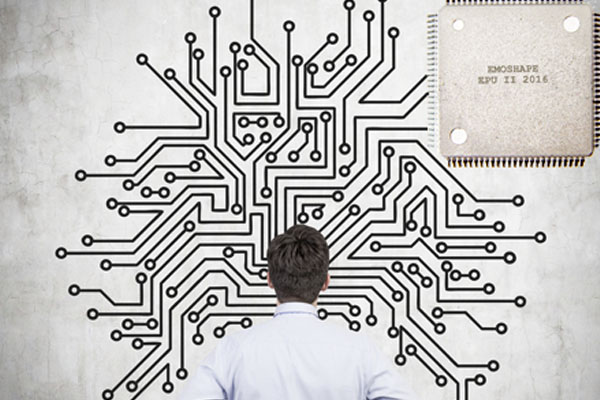 graphic of man staring at large processor chip print on wall