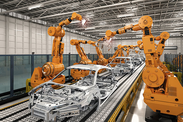 Car assembly line with robots