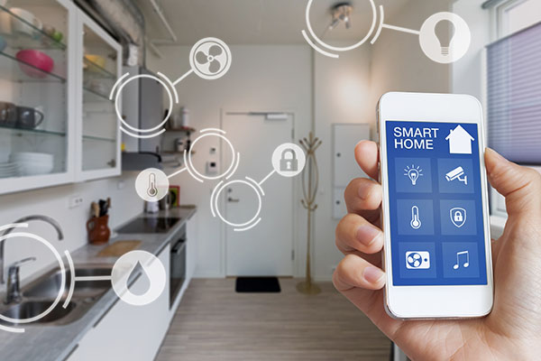 Mobile phone with app that controls kitchen