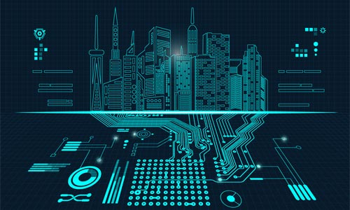 cityscape with computer chips