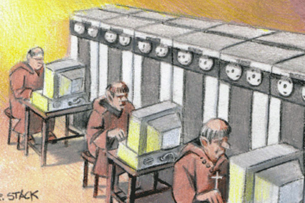 Priests on computers