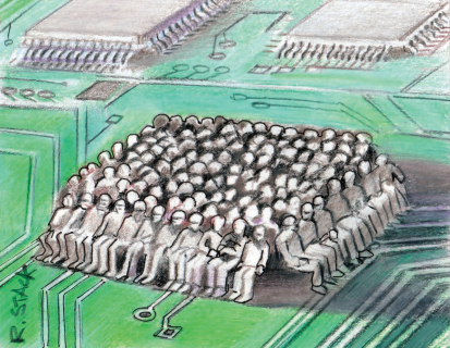 illustration of microchip made up of people