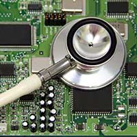 Stethoscope on motherboard