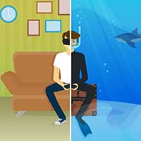 Illustration of boy half playing video game, the other half play video games in shark tank
