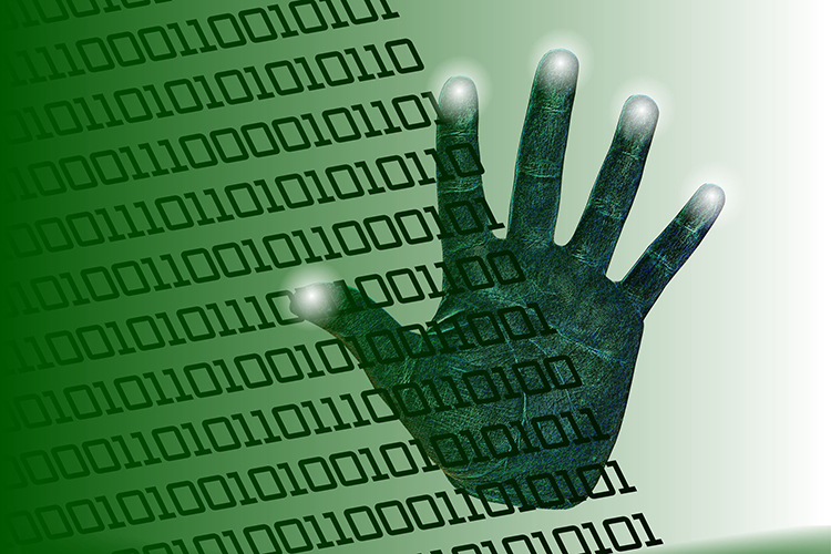 handprint and binary code