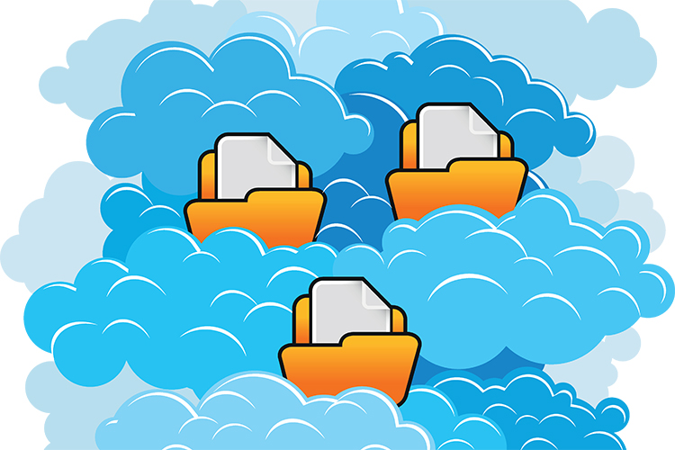 file folders in clouds