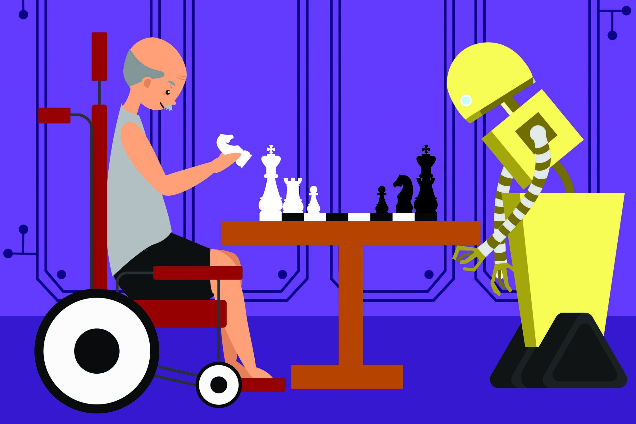 Robot playing chess with elderly man in wheelchair