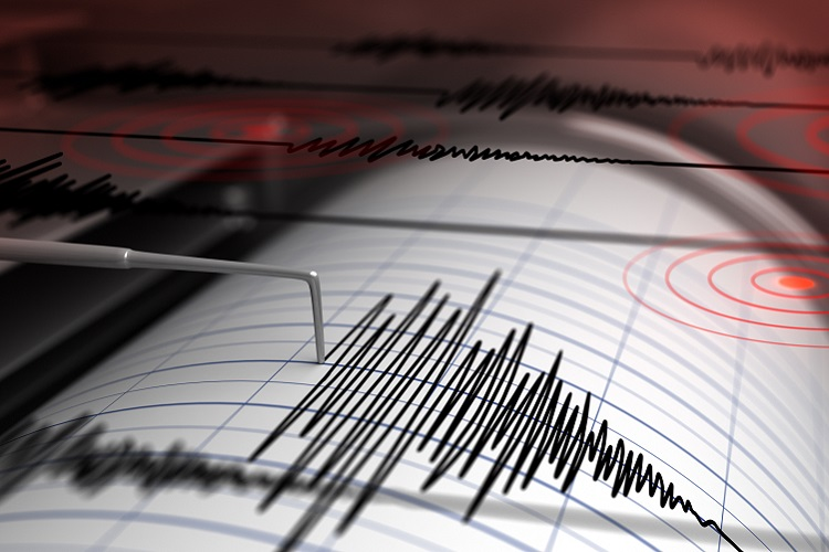 Seismograph with paper in action and earthquake - 3D Rendering