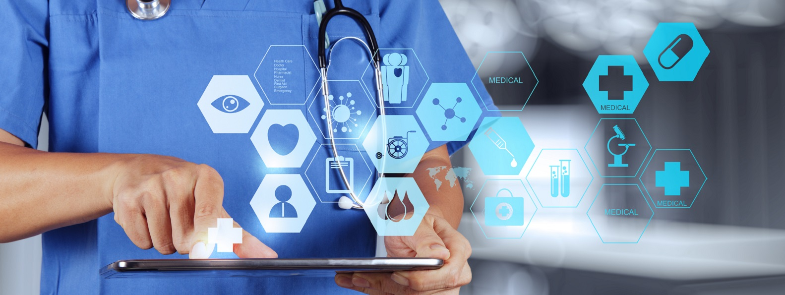 doctor using ipad for digital health automation