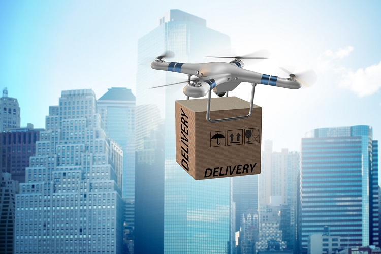 Drone delivery concept with box in air