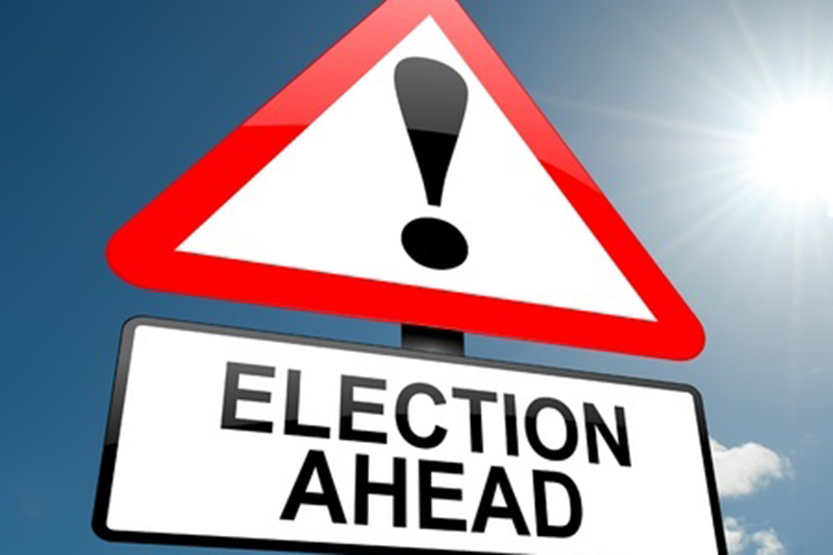 """election ahead"" sign"