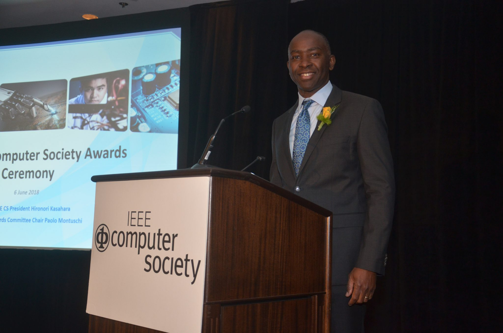 Oyekunle Olukotun, Cadence Design Systems Professor of Electrical Engineering and Computer Science at Stanford University, attends a June award ceremony to receive the IEEE Computer Society 2018 Harry H. Goode Award.
