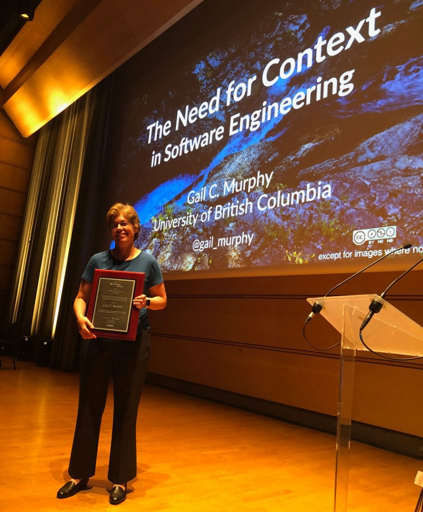 Gail Murphy, Professor in the Department of Computer Science and Vice-President Research and Innovation at the University of British Columbia, receives the IEEE Computer Society's 2018 Harlan D. Mills Award.