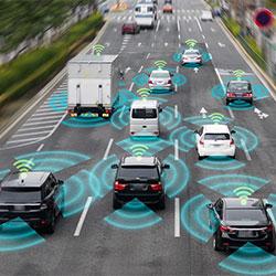 Smart cars on roadway.