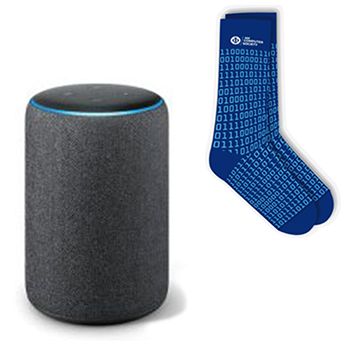 Amazon Echo and Computer Society socks