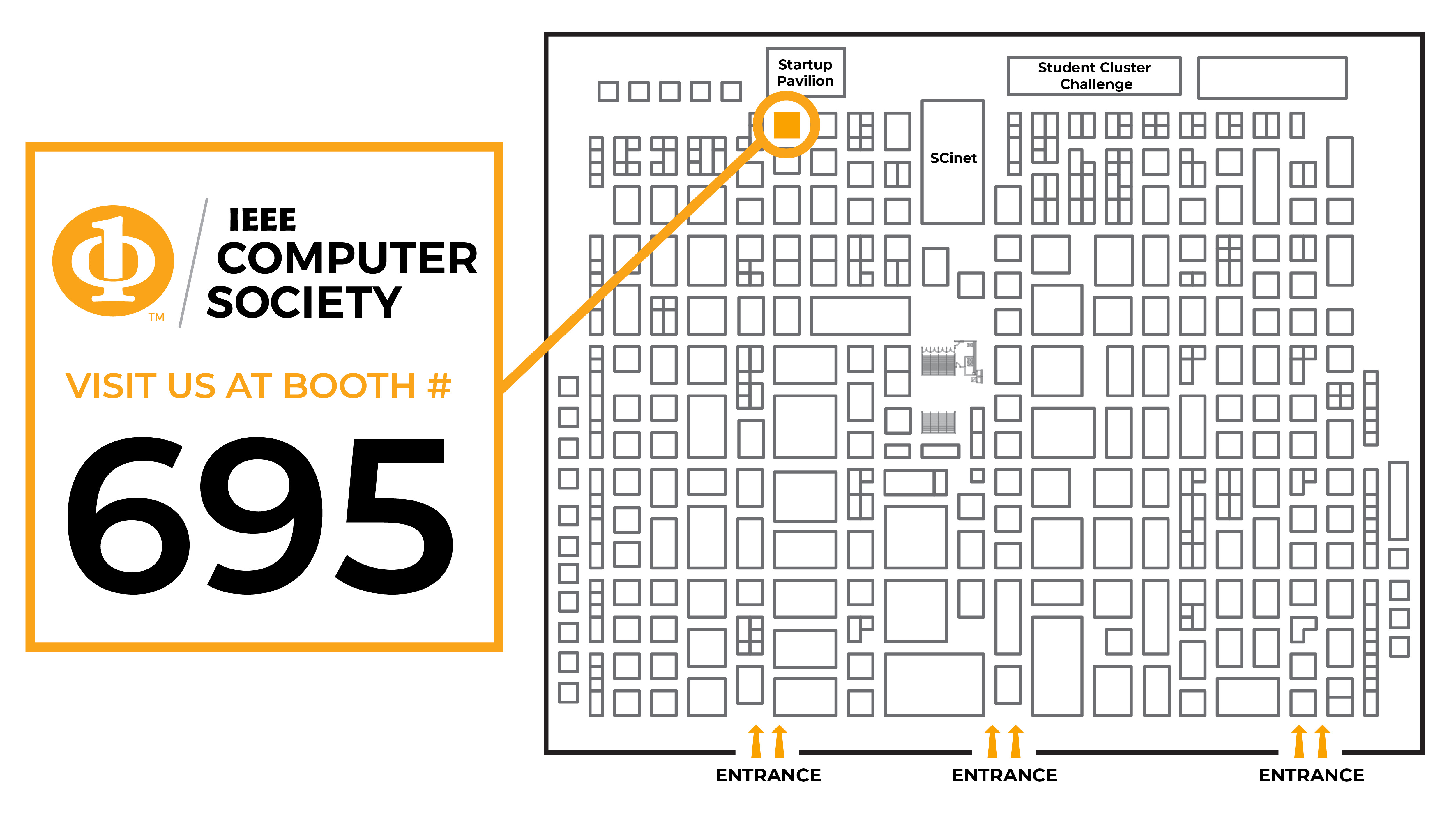 Map of how to find our booth #695 at SC19