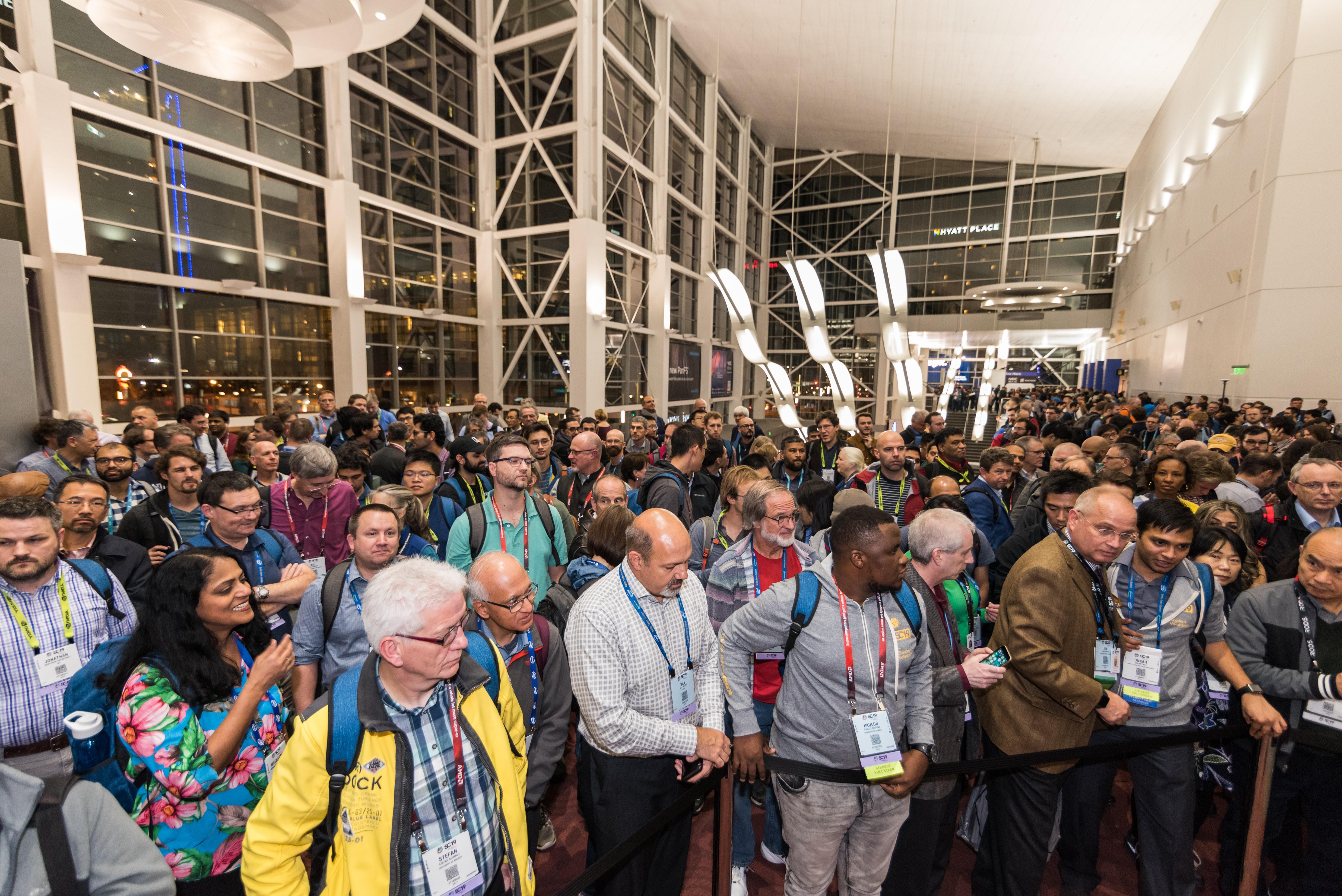 Big crowds at opening gala of Supercomputing Conference 2019.