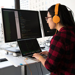 girl computer headphones