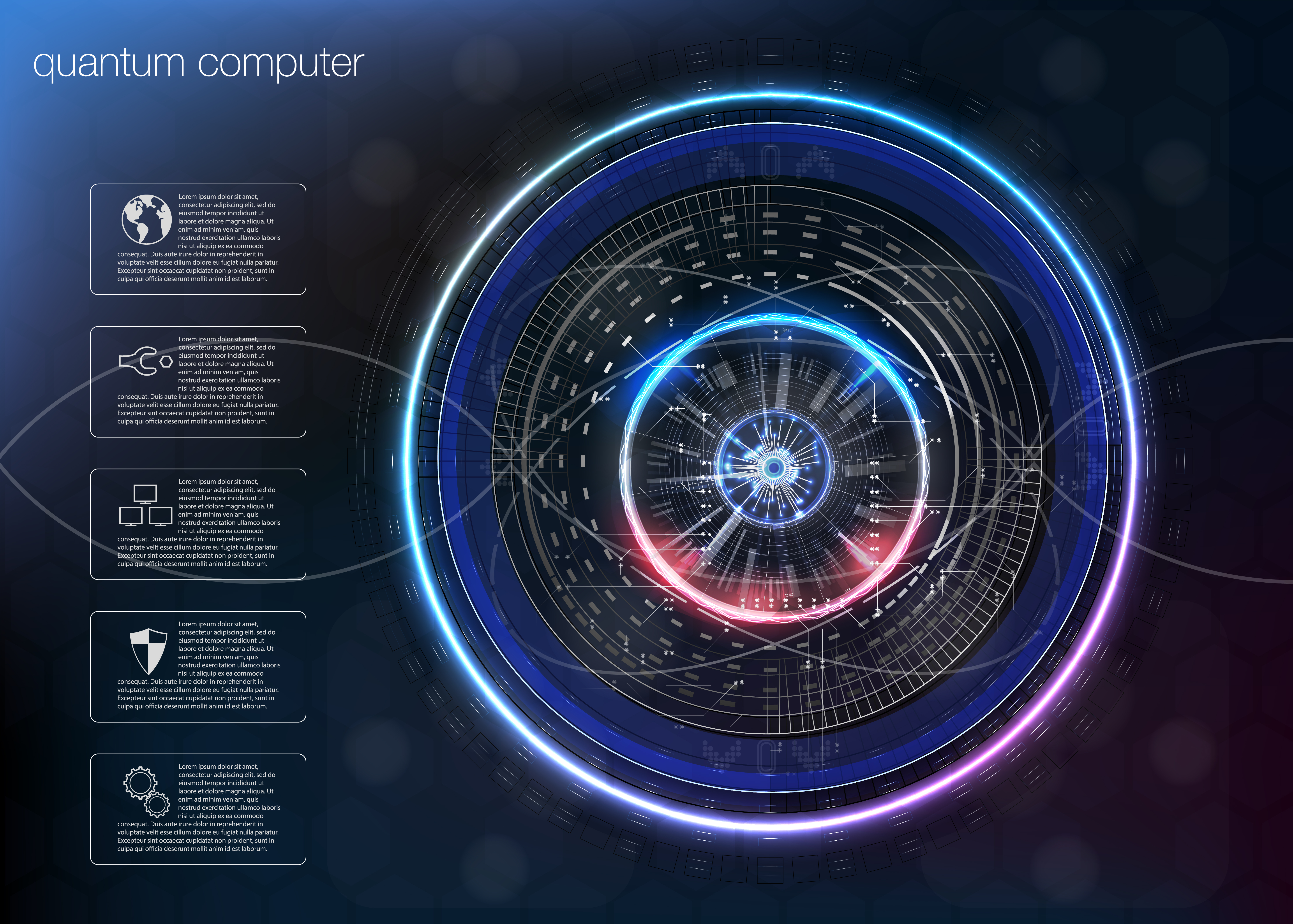 Quantum computing, Big data algorithms, Quantum computing, data visualization technologies, deep learning artificial intelligence, signal cryptography infographic vector illustrations.